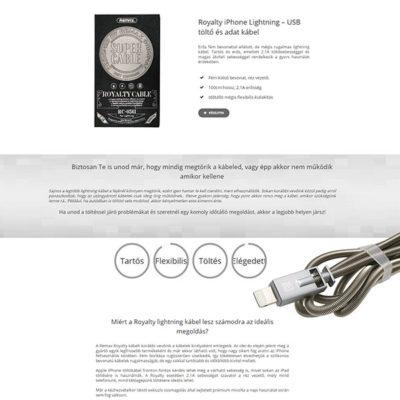 értékesítő landing page: Remax iPhone kábel fém bevonattal