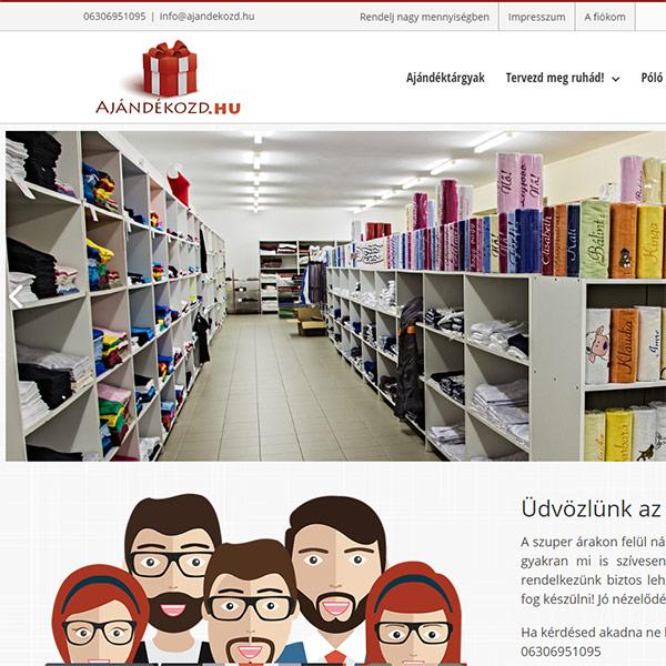 Ajándék webáruház - egyedi fejlesztésekkel: ajandekozd.hu